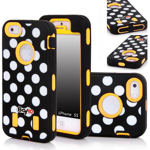 Bayke Brand Premium Armorbox Armor Defender Case for Apple Iphone 5 5S (5C Not Fit) Fashion Polka Dots Design High Impact Dual Layer Hybrid Full-body Protective Bumper Case (Yellow / Screen Protector not Include) at Amazon.com