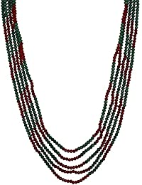 Aradhya Five Layer Red And Green Crystal Beads Necklace With Earrings