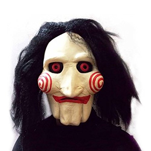 KINGMAS(R) Saw Movie Jigsaw Puppet Mask Halloween Full Mask Head Latex Creepy Scary