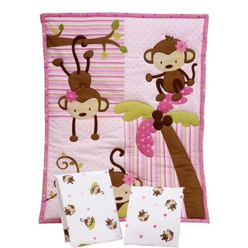 Little Bedding By Nojo - 3 Little Monkeys 3Pc Portable Crib Bedding Set front-29921