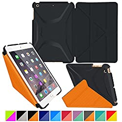 roocase iPad Mini 3 Case - Origami 3D iPad Mini Slim Shell Case Smart Cover with Sleep / Wake [Features Landscape, Portrait, Typing Stand] for Apple iPad Mini 3, 2 & 1, Granite Black / roocase Orange