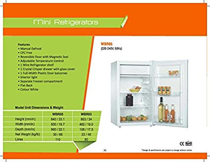 WBR05W 115 Litres Single Door Refrigerator