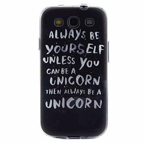 The fly shop - Cover per Samsung Galaxy S3 i9300 e Galaxy S3 Neo/ Custodia in silicone flessibile satinata nera con frase Always be yourself