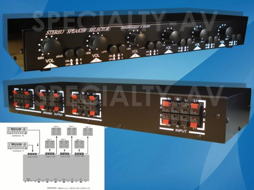 2X6 Matrix Speaker Selector Switch Switcher Volume Level Control, 2-Amp 6-Zone 900-Watt