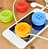 Umiwe(TM) Mini Handheld Silicone Button Earphone Wire Wrap Cord Keeper Cable WinderRandom Color With Umiwe Accessory