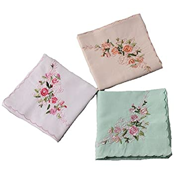 "La closure Ladies Soft Embroidery 60s""Cotton Handkerchiefs-Square 43cm"
