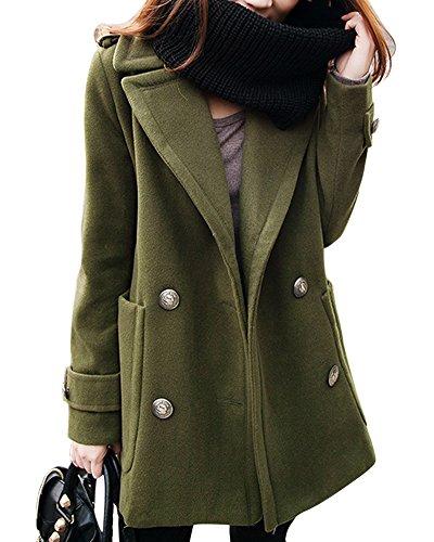 Donna Invernale Cappotto Manica Lunga Risvolto Doppiopetto Cappotti Trench Giacca Esercito Verde S