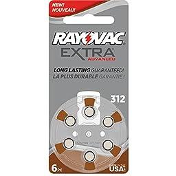 60 Rayovac Extra Mercury Free Hearing Aid Batteries Size: 312 + Battery Holder Keychain Kit