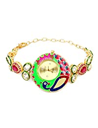 Peacock Theme Multicolor Enamel Pink Glass & White Cubic Zirconia Gold Plated Brass Watch