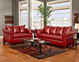 Flash Furniture Exceptional Designs Leather Living Room Set, Sierra Red
