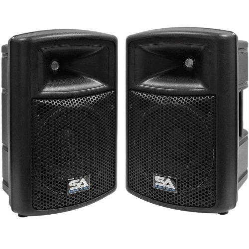 "Seismic Audio - Pws-10 (Pair) - Pro Audio Pa Dj Powered 10"" Speakers - Lightweight Molded Active Cabinets - 800 Watts"