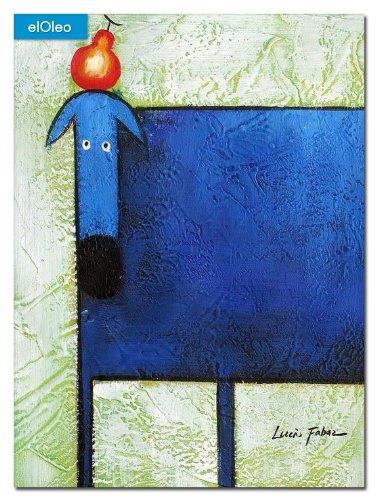 elOleo Pop Art – Der lustige blaue Hund 40×30 Gemälde auf Leinwand handgemalt 83069A kaufen