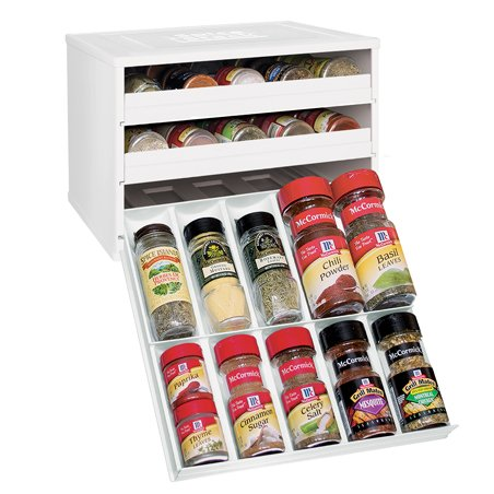 YouCopia Chef's Edition SpiceStack 30-Bottle Spice Organizer, White