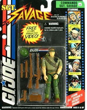 "1994 Hasbro Sgt Savage and his screaming Eagles Video and 4.5"" Figure with Weapons - 1"