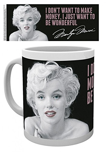 Set: Marilyn Monroe, Quote Photo Coffee Mug (4x3 inches) And 1x 1art1 Surprise Sticker (Marilyn Monroe Coffee Mug Set compare prices)