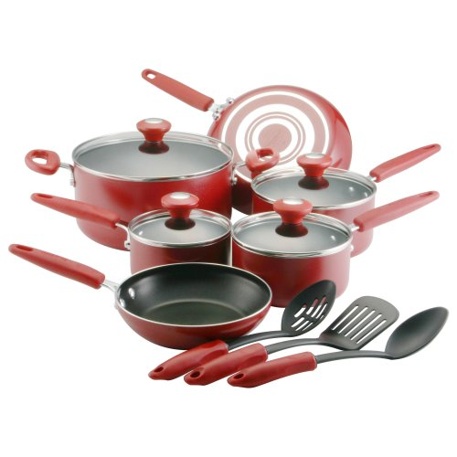 Silverstone Culinary Colors Aluminum Nonstick 13-Piece Cookware Set, Red