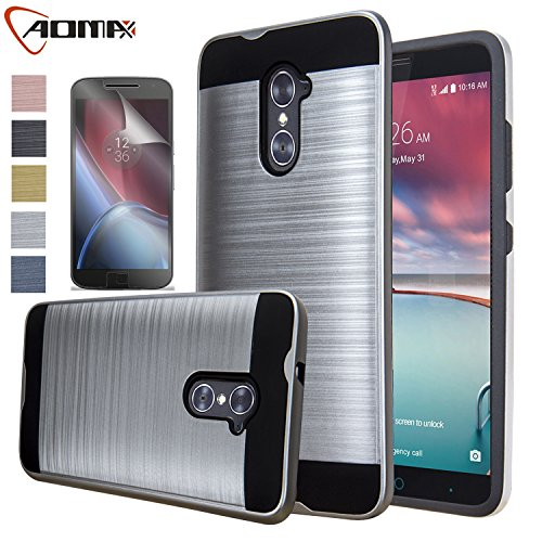 ZTE Imperial Max Case, ZTE Grand X Max 2 Case, Aomax Hard Silicone Rubber Hybrid Armor Shockproof Protective Holster Cover Case With HD Screen Protector For ZTE Kirk Z988 / Duo Z963U (VLS Silver) (Zte Imperial Charging Case compare prices)