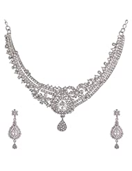 I Jewels Traditional Rodium Plated Stone Necklace Set With Maang Tikka For Women (White) (M4030Zw)