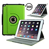 Apple iPad Air 2 Case - ACcover 360 Degree Rotating PU Leather Smartshell Stand Cover Case for Apple iPad Air 2 (iPad 6th Gen 2014 Version) 9.7 Inch iOS 8 Tablet, (with Smart Cover Auto Sleep / wake) [NOT FIT iPad Air 2013 Version] - Apple Green
