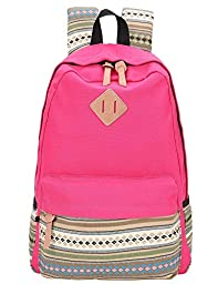 Hmxpls Unisex Fashionable Canvas Zip Bohemia Boho Style Backpack School College Laptop Bag for Teens Girls Boys Students rose