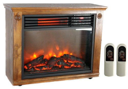 NEW Portable Electric Medium Oak Finish 3 Infrared Quartz Freestanding Fireplace picture B00GR3QMXS.jpg