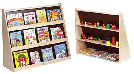 Steffy Wood Bookcase Display with Rear Shelves