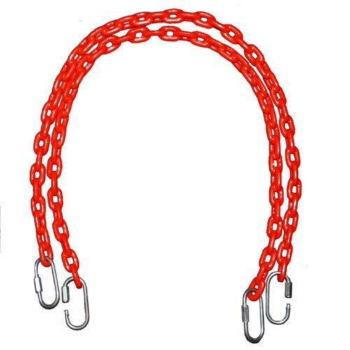 Fully Coated Chain 66 Inch Long + 4 Free Quick Links On Both Sides In Red Waterproof Chain Swingset Seat, Baby Swing, Toddler Swing, Trapeze Bar Playground Equipment Chain, Jungle Gym 2 (1 Pair) (Free Priority Shipping In Continental Usa) front-204195