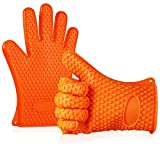 Anpro Heat Resistant Silicone Cooking Grilling Gloves Mitts Set for BBQ, Cooking Oven Baking, Smoking, Frying