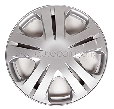 "Silver 15"" Hub Caps Full Wheel Rim Covers w/Steel Clips (Set of 4) - KT-1020S-15"