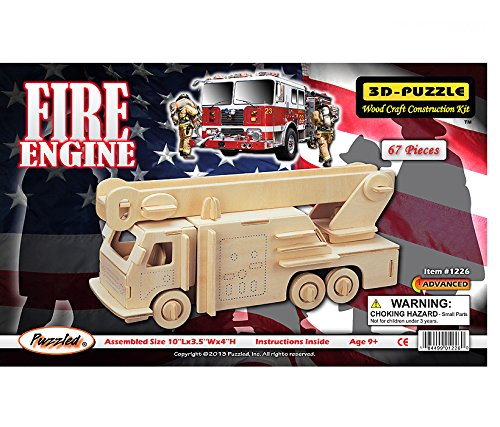 3-D Wooden Puzzle - Fire Engine Model -Affordable Gift for your Little One! Item #DCHI-WPZ-P103