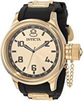 Invicta Men's 1438 Russian Diver Gold Dial Black Polyurethane Watch from Invicta