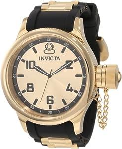 Invicta Men's 1438 Russian Diver Gold Dial Black Polyurethane Watch