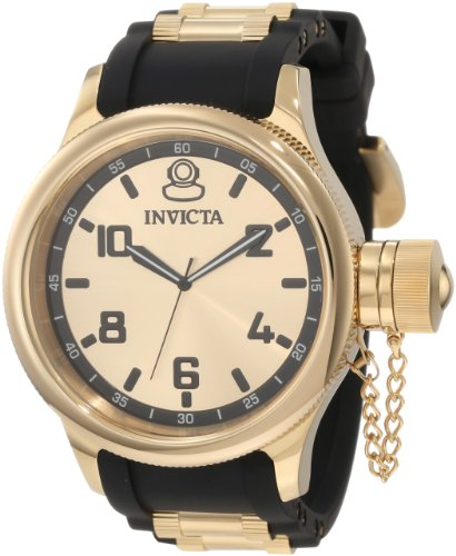 Invicta Men's 1438 Russian Diver Gold Dial Black Polyurethane Watch