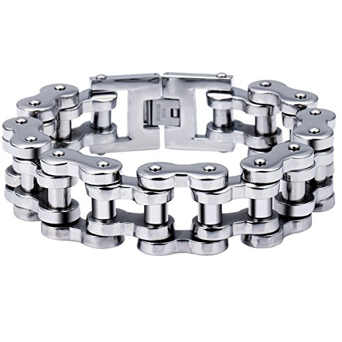 Trendsmax 23mm Heavy Mens Silver Tone Biker Motorcycle Chain 316L Stainless Steel Bracelet 10inch (Cycle Chain Bracelet compare prices)