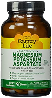 Country Life Magnesium - Potassium Aspartate Target-Mins, 90 Tabs by Country Life