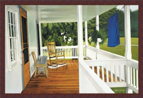The Porch By Kathleen Green Country Rocking Chair 38X26 Wall Art Print Picture Framed front-903134