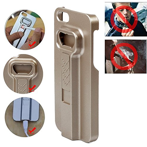 Lvjing New Arrival Multi-Functional Rechargeable Cigarette Lighter + Bottle Opener + Phone Case Cover For Iphone 5S (Golden)