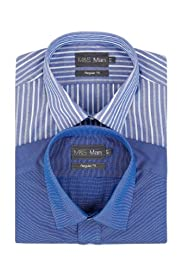 2 Pack Easy Care Short Sleeve Striped Shirts [T11-2062W-S]