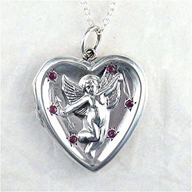 Click to buy Large Sterling Silver and Ruby Cupid Locket Necklace from Amazon!