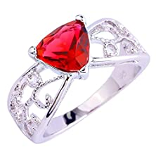 buy Psiroy 925 Sterling Silver Grace Womens Band Charms Gorgeous 9Mm*9Mm Triangle Cut Created Ruby Spinel Filled Ring