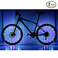 Soondar 2 Pack Uprated USB Powered Rechargeable Water Resistant Cool 20 LED Bicycle Bike Cycling Wheel Light Safety Light Spoke Light Lamp Lightweight Accessory - Red Blue White Green Pink Multicolor Multicolor