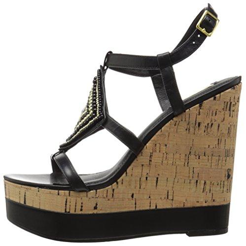 Lauren Ralph Lauren Women's Mattie Wedge Sandal, Black Kidskin, 10 B US