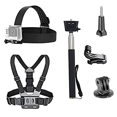 VVHOOY 3 in 1 Universal Waterproof Action Camera Accessories Bundle Kit - Head Strap Mount/Chest Harness/Selfie stick from VVHOOY