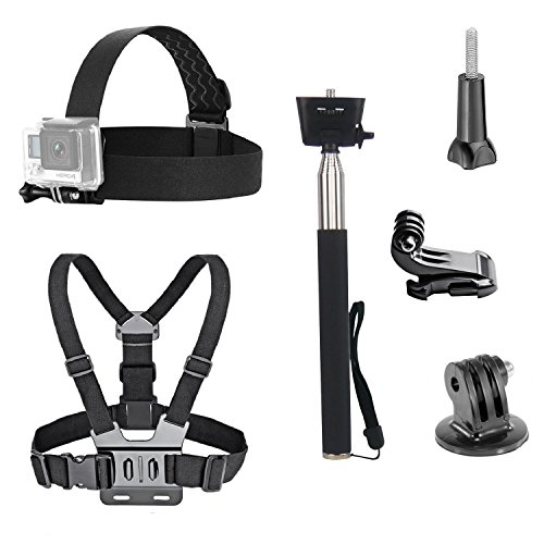 VVHOOY 3 in 1 Universal Waterproof Action Camera Accessories Bundle Kit - Head Strap Mount/Chest Harness/Selfie stick (Head Strap Camera compare prices)