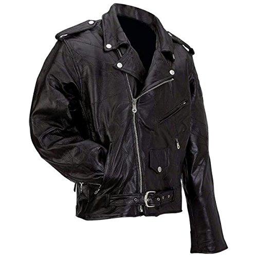 Diamond Plate Rock Design Genuine Buffalo Leather Motorcycle Jacket GFMOTXL