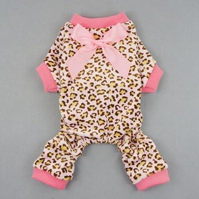 Fitwarm Leopard Print Velvet Pet Dog Jumpsuit with Ribbon