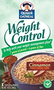 Quaker Instant Oatmeal Weight Control, Cinnamon, 8 Packets (Pack of 4)