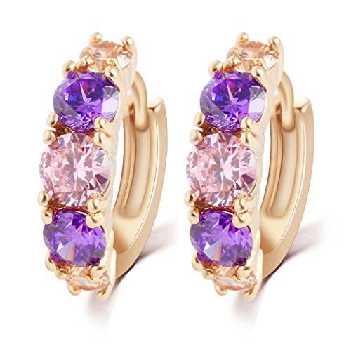 Duo La Luxury 18K Rose Gold Plated Cubic Zirconia Front Hoop Earrings (Brothers Allergy Dog Food compare prices)