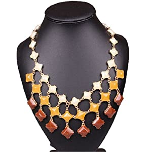 Qiyun Orange Coffee White Square Geometric Beaded Bib Statement Necklace Cafe Blanc Orange Carre Ge ome trique Collier