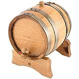 Oak Beverage Dispensing Barrel with Galvanized Steel Bands - 5 Liter